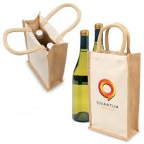 Eco Jute Wine Bag - Double